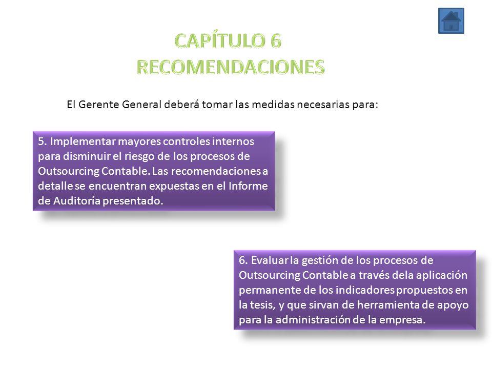 El Gerente General deberá tomar las medidas necesarias para: 5. Implementar mayores controles internos para disminuir el riesgo de los procesos de Out