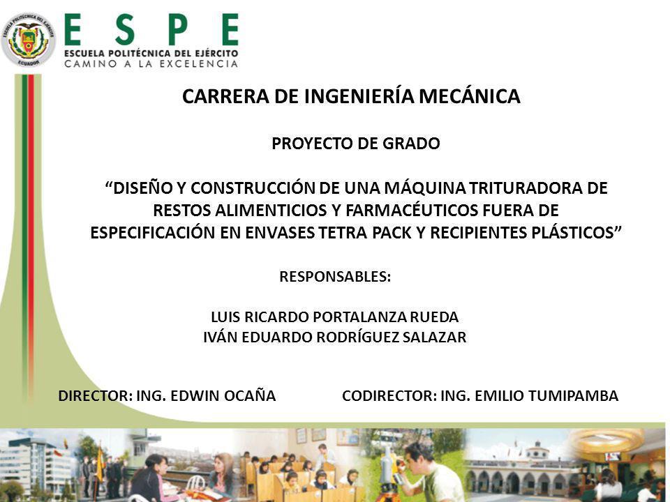 CARRERA DE INGENIERÍA MECÁNICA PROYECTO DE GRADO DISEÑO Y CONSTRUCCIÓN DE UNA MÁQUINA TRITURADORA DE RESTOS ALIMENTICIOS Y FARMACÉUTICOS FUERA DE ESPECIFICACIÓN EN ENVASES TETRA PACK Y RECIPIENTES PLÁSTICOS RESPONSABLES: LUIS RICARDO PORTALANZA RUEDA IVÁN EDUARDO RODRÍGUEZ SALAZAR DIRECTOR: ING.
