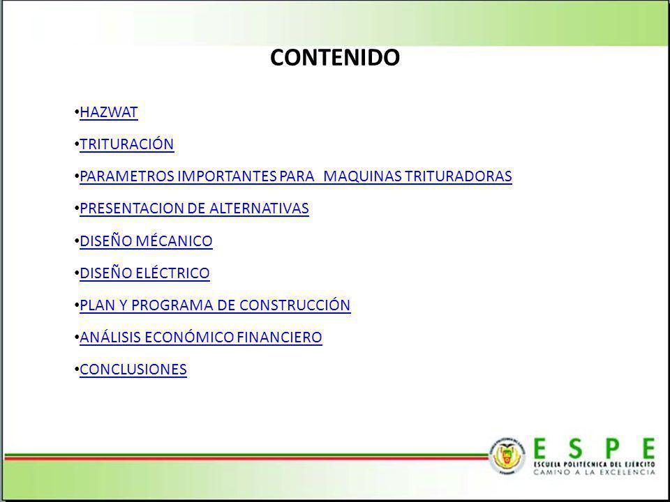 CONTENIDO HAZWAT TRITURACIÓN PARAMETROS IMPORTANTES PARA MAQUINAS TRITURADORAS PRESENTACION DE ALTERNATIVAS DISEÑO MÉCANICO DISEÑO ELÉCTRICO PLAN Y PROGRAMA DE CONSTRUCCIÓN ANÁLISIS ECONÓMICO FINANCIERO CONCLUSIONES