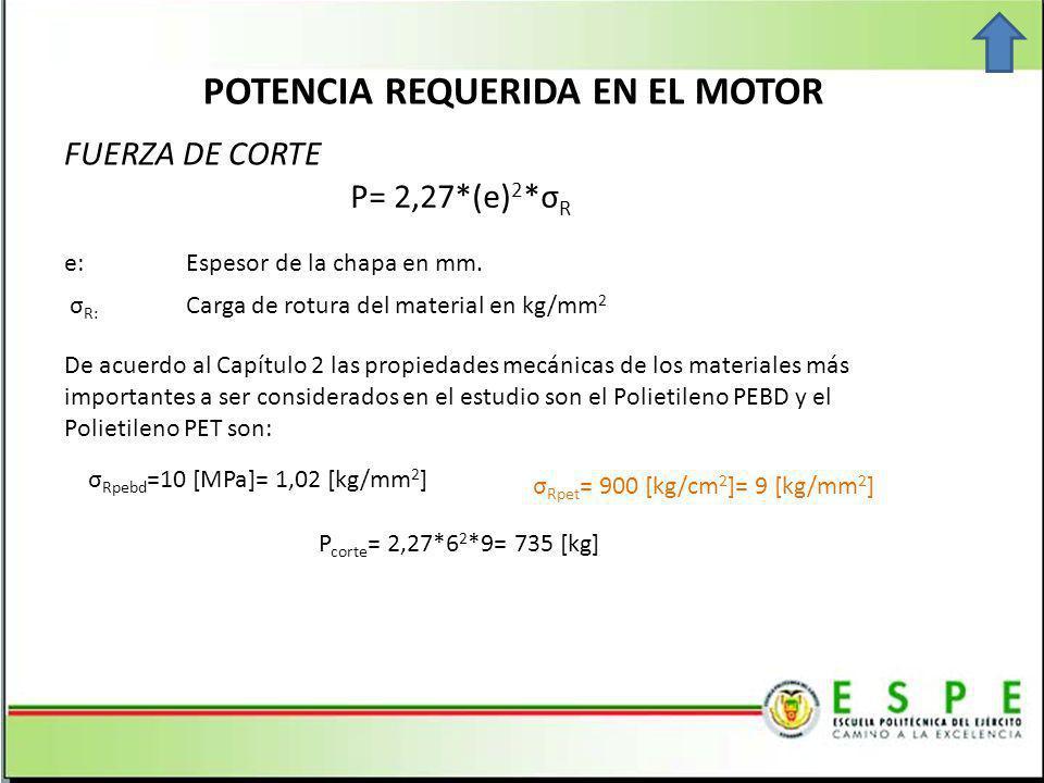 POTENCIA REQUERIDA EN EL MOTOR FUERZA DE CORTE P= 2,27*(e) 2 *σ R σ Rpebd =10 [MPa]= 1,02 [kg/mm 2 ] σ Rpet = 900 [kg/cm 2 ]= 9 [kg/mm 2 ] De acuerdo al Capítulo 2 las propiedades mecánicas de los materiales más importantes a ser considerados en el estudio son el Polietileno PEBD y el Polietileno PET son: P corte = 2,27*6 2 *9= 735 [kg] e: Espesor de la chapa en mm.