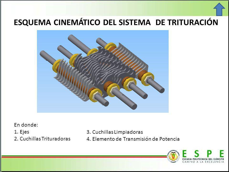 ESQUEMA CINEMÁTICO DEL SISTEMA DE TRITURACIÓN En donde: 1.