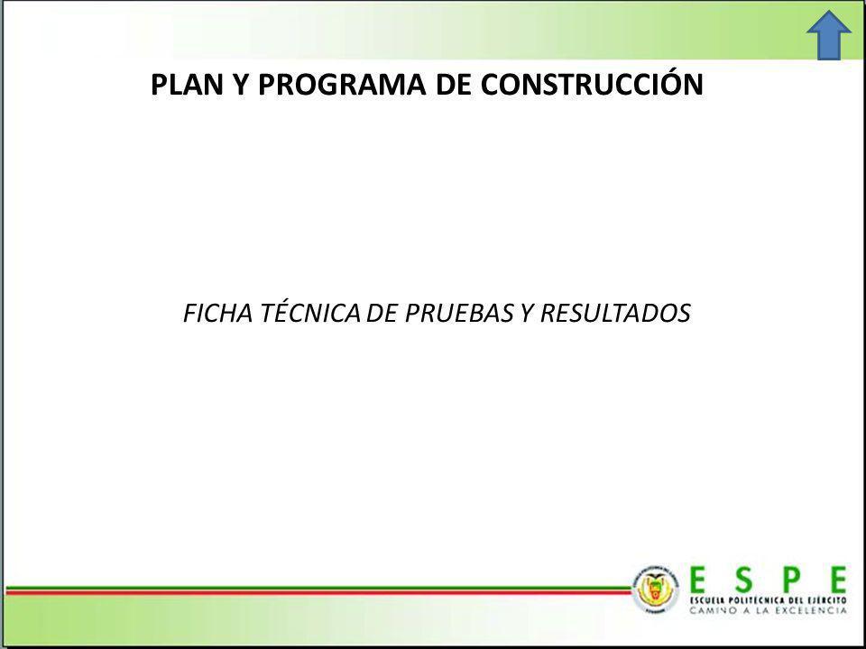 PLAN Y PROGRAMA DE CONSTRUCCIÓN FICHA TÉCNICA DE PRUEBAS Y RESULTADOS