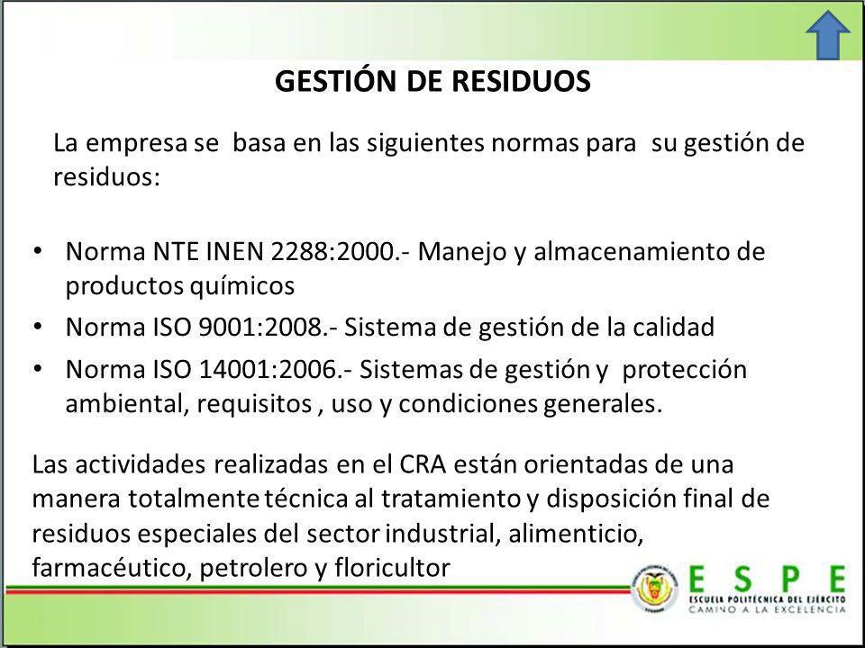 GESTIÓN DE RESIDUOS La empresa se basa en las siguientes normas para su gestión de residuos: Norma NTE INEN 2288:2000.- Manejo y almacenamiento de productos químicos Norma ISO 9001:2008.- Sistema de gestión de la calidad Norma ISO 14001:2006.- Sistemas de gestión y protección ambiental, requisitos, uso y condiciones generales.