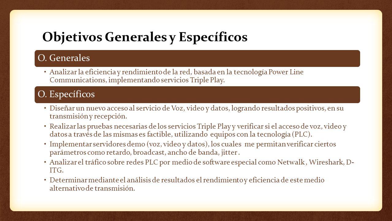 Objetivos Generales y Específicos O. Generales Analizar la eficiencia y rendimiento de la red, basada en la tecnología Power Line Communications, impl