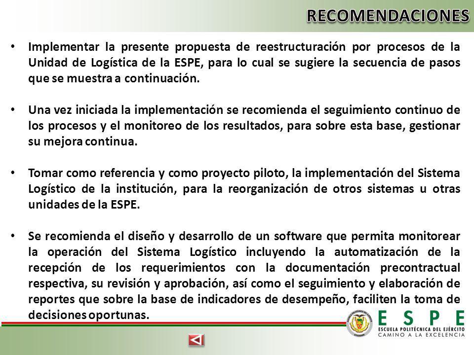 Implementar la presente propuesta de reestructuración por procesos de la Unidad de Logística de la ESPE, para lo cual se sugiere la secuencia de pasos