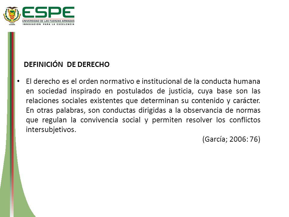 DEFINICIÓN DE DERECHO El derecho es el orden normativo e institucional de la conducta humana en sociedad inspirado en postulados de justicia, cuya bas