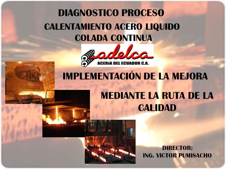 DIAGNOSTICO PROCESO CALENTAMIENTO ACERO LIQUIDO COLADA CONTINUA IMPLEMENTACIÓN DE LA MEJORA MEDIANTE LA RUTA DE LA CALIDAD DIRECTOR: ING. VICTOR PUMIS