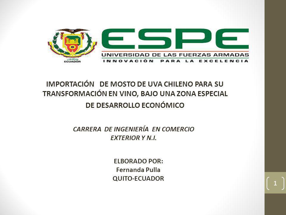 CONTENIDO GENERAL 2 INTERNACIÓN DE MOSTO DE UVA CHILENO PARA LA TRANSFORMACIÓN EN VINO BAJO UNA ZEDE CAPÍTILO 5 ESTUDIO CAPÍTILO 5 ESTUDIO ANÁNALISIS FINANCIERO CAPITULO 1 DEFINICIÓN Y GENERALIDADES DEL VINO CAPÍTULO 2 ZONAS ESPECIALES DE DESARROLLO ECONÓMICO CAPÍTULO 3 INVESTIGACIÓN DE MERCADOS CAPÍTULO 4 CAPÍTULO 4 PROCESO OPERATIVO