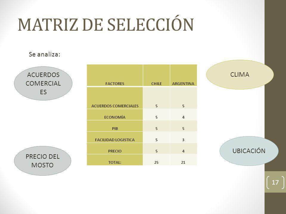 MATRIZ DE SELECCIÓN 17 Se analiza: ACUERDOS COMERCIAL ES CLIMA PRECIO DEL MOSTO UBICACIÓN FACTORESCHILEARGENTINA ACUERDOS COMERCIALES55 ECONOMÍA54 PIB