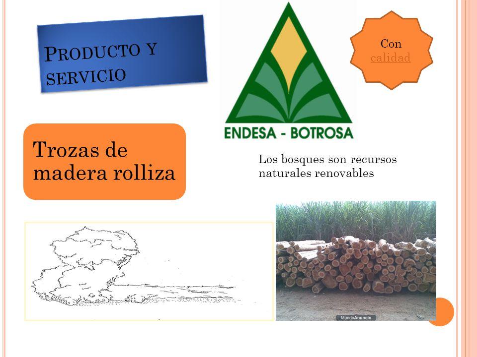 P RODUCTO Y SERVICIO Trozas de madera rolliza Con calidad Los bosques son recursos naturales renovables