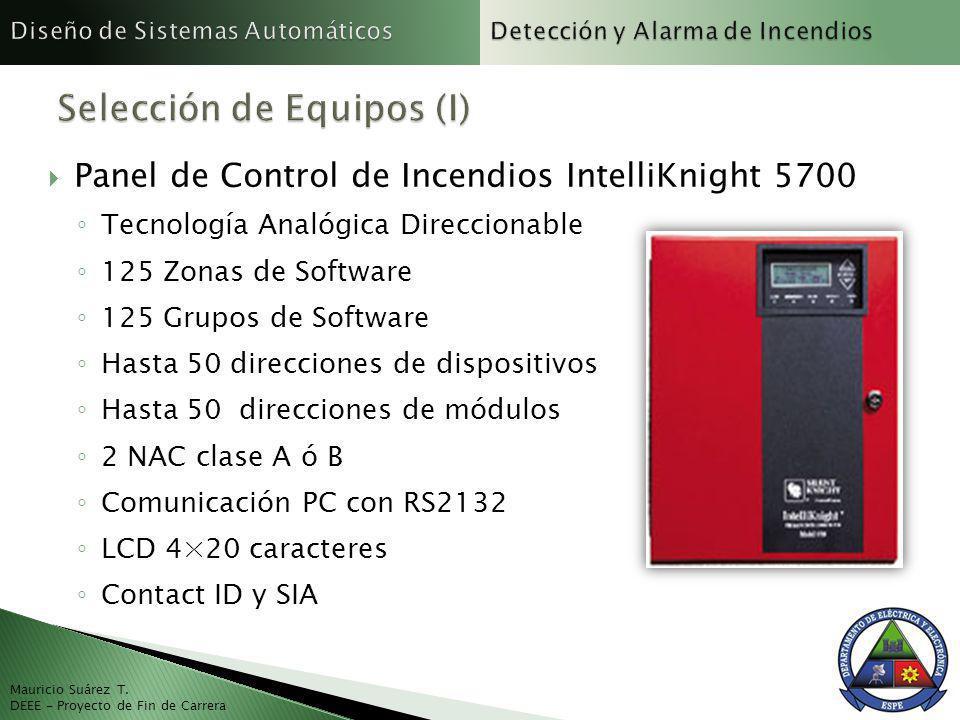 Panel de Control de Incendios IntelliKnight 5700 Tecnología Analógica Direccionable 125 Zonas de Software 125 Grupos de Software Hasta 50 direcciones