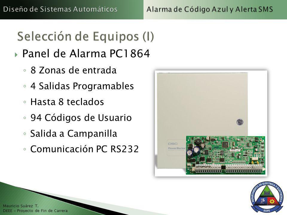 Mauricio Suárez T. DEEE - Proyecto de Fin de Carrera Panel de Alarma PC1864 8 Zonas de entrada 4 Salidas Programables Hasta 8 teclados 94 Códigos de U