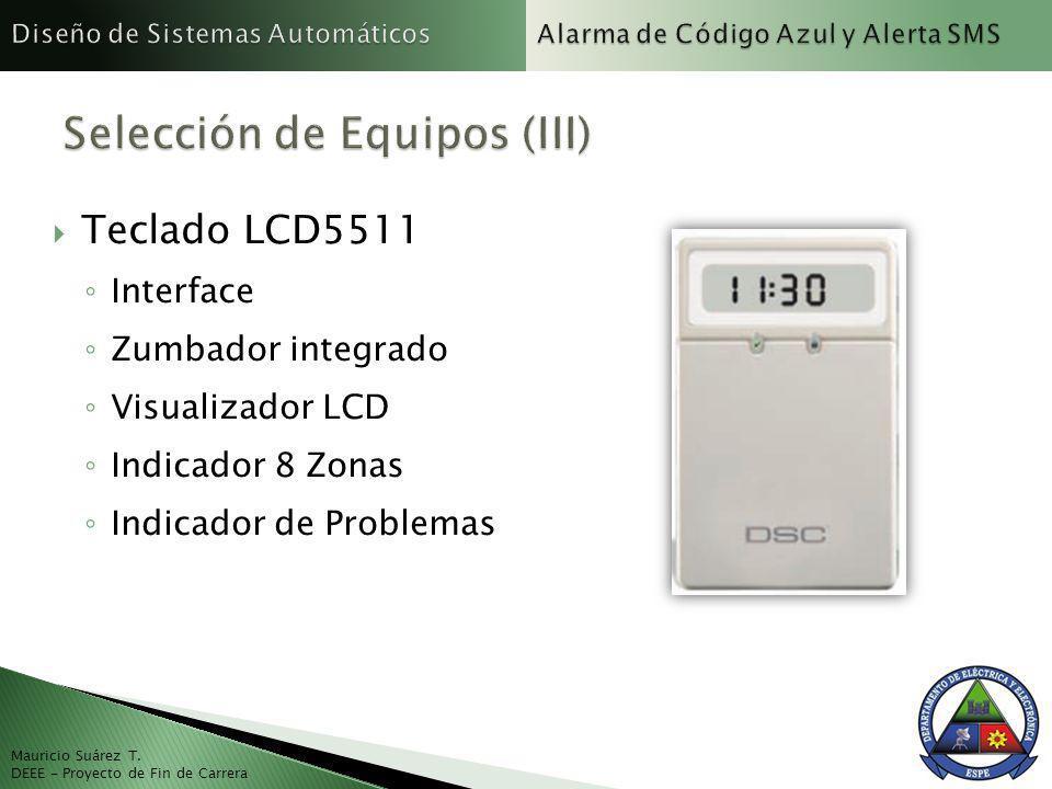 Mauricio Suárez T. DEEE - Proyecto de Fin de Carrera Teclado LCD5511 Interface Zumbador integrado Visualizador LCD Indicador 8 Zonas Indicador de Prob