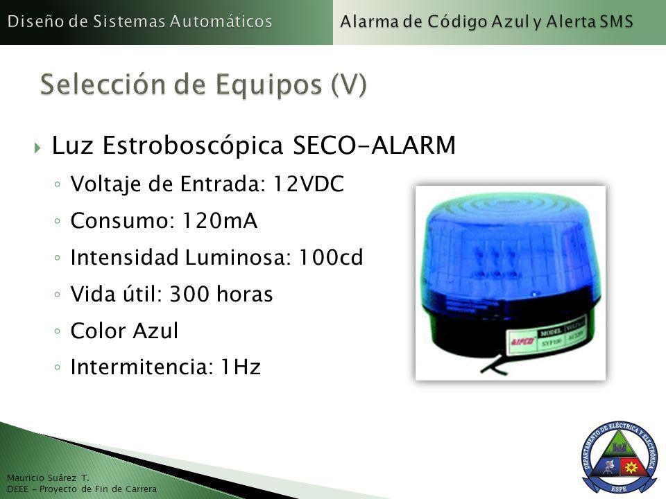 Mauricio Suárez T. DEEE - Proyecto de Fin de Carrera Luz Estroboscópica SECO-ALARM Voltaje de Entrada: 12VDC Consumo: 120mA Intensidad Luminosa: 100cd