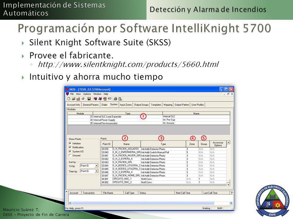 Mauricio Suárez T. DEEE - Proyecto de Fin de Carrera Silent Knight Software Suite (SKSS) Provee el fabricante. http://www.silentknight.com/products/56