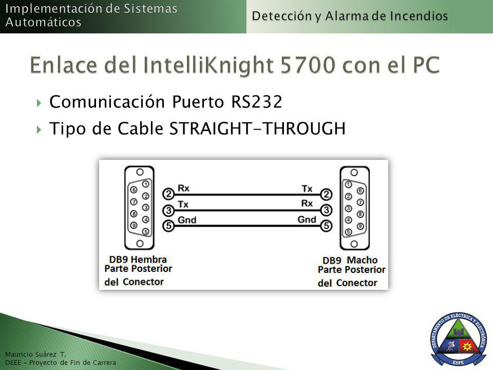 Mauricio Suárez T. DEEE - Proyecto de Fin de Carrera Comunicación Puerto RS232 Tipo de Cable STRAIGHT-THROUGH