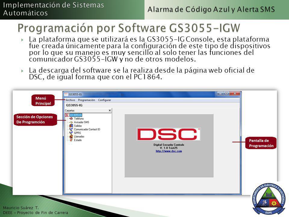 Mauricio Suárez T. DEEE - Proyecto de Fin de Carrera La plataforma que se utilizará es la GS3055-IG Console, esta plataforma fue creada únicamente par