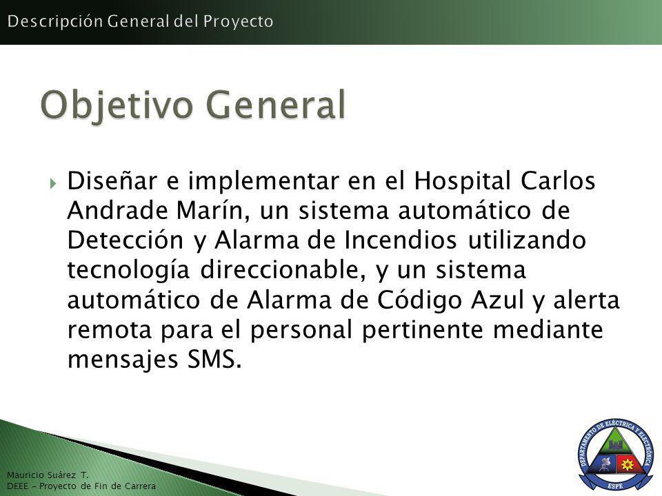 Diseñar e implementar en el Hospital Carlos Andrade Marín, un sistema automático de Detección y Alarma de Incendios utilizando tecnología direccionable, y un sistema automático de Alarma de Código Azul y alerta remota para el personal pertinente mediante mensajes SMS.