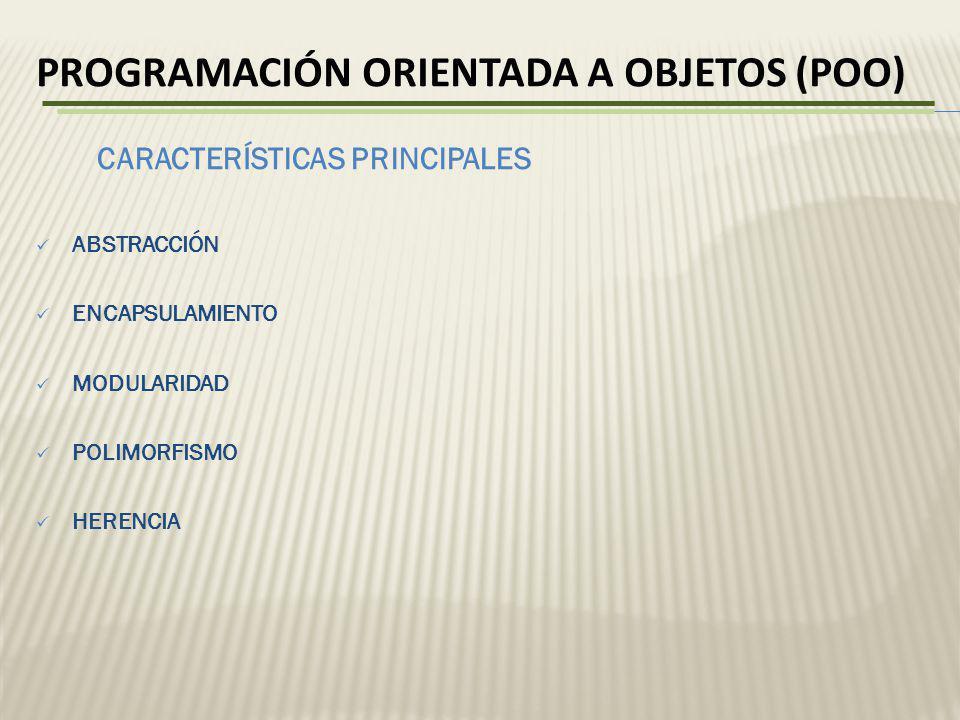 PROGRAMACIÓN ORIENTADA A OBJETOS (POO) ABSTRACCIÓN ENCAPSULAMIENTO MODULARIDAD POLIMORFISMO HERENCIA CARACTERÍSTICAS PRINCIPALES