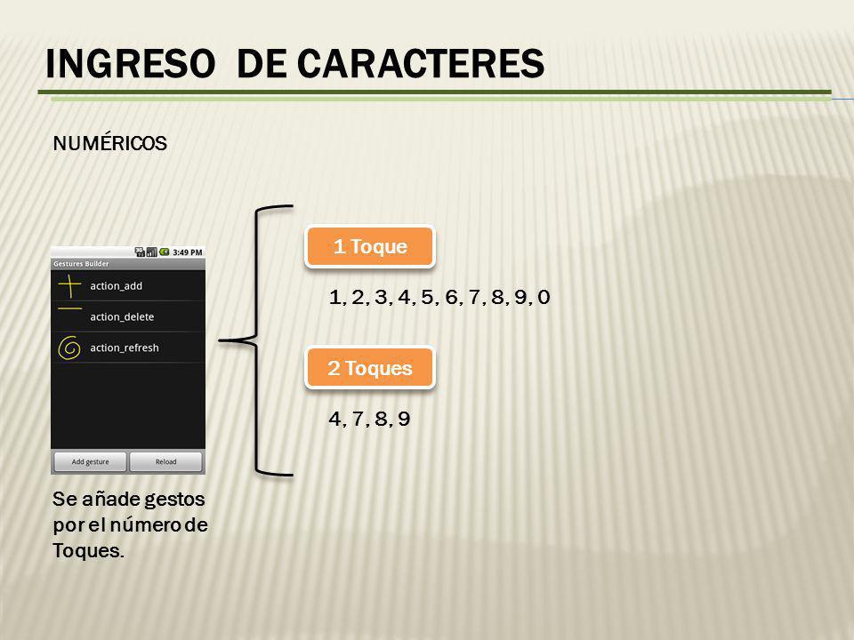 INGRESO DE CARACTERES NUMÉRICOS Se añade gestos por el número de Toques.