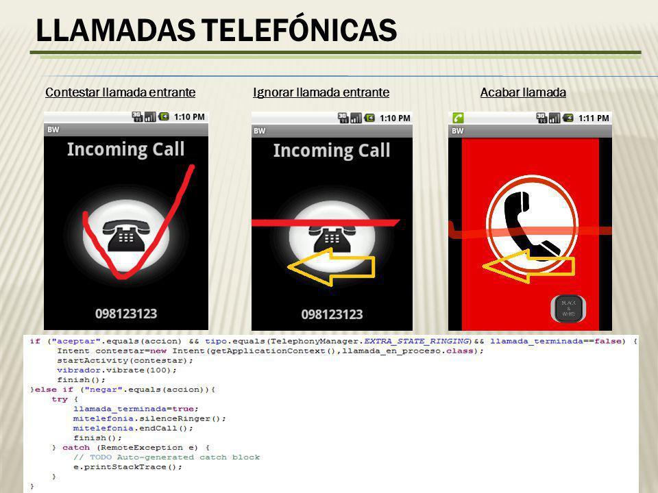 LLAMADAS TELEFÓNICAS Contestar llamada entranteIgnorar llamada entranteAcabar llamada