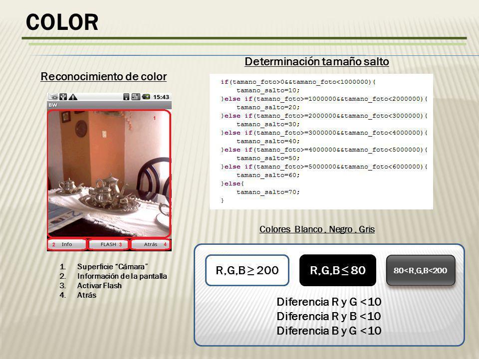 COLOR 1.Superficie Cámara 2.Información de la pantalla 3.Activar Flash 4.Atrás Reconocimiento de color Diferencia R y G <10 Diferencia R y B <10 Diferencia B y G <10 R,G,B 200R,G,B 80 80<R,G,B<200 Colores Blanco, Negro, Gris Determinación tamaño salto