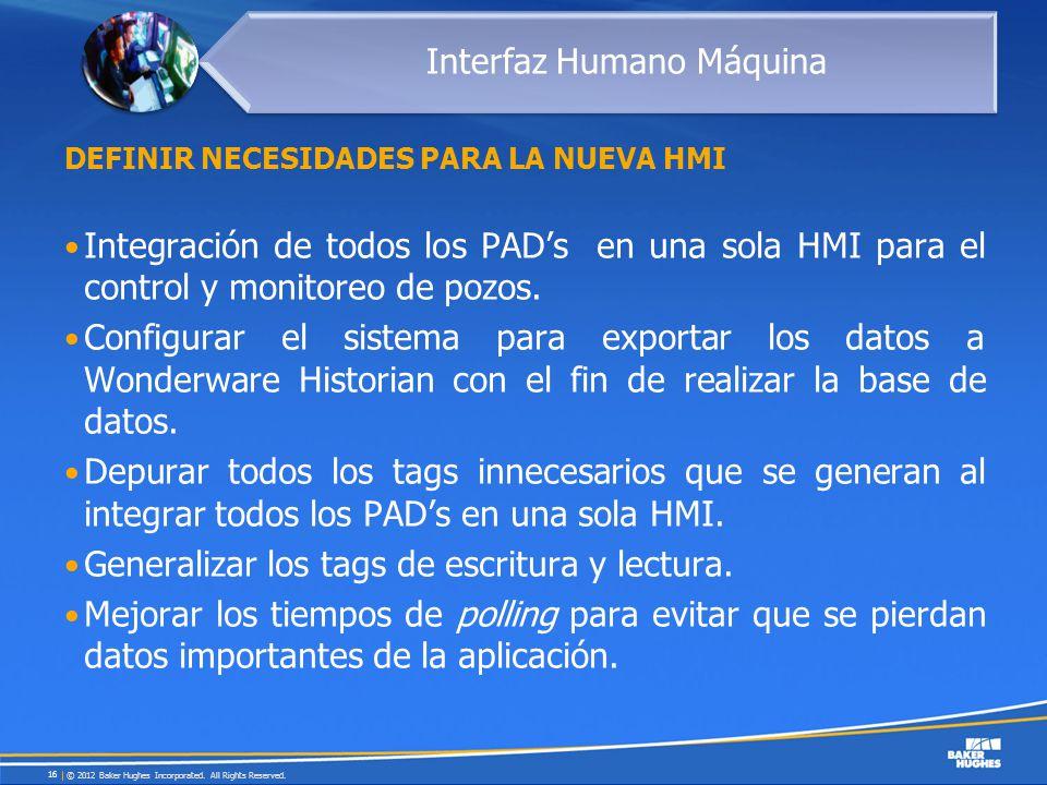 DEFINIR NECESIDADES PARA LA NUEVA HMI Integración de todos los PADs en una sola HMI para el control y monitoreo de pozos. Configurar el sistema para e