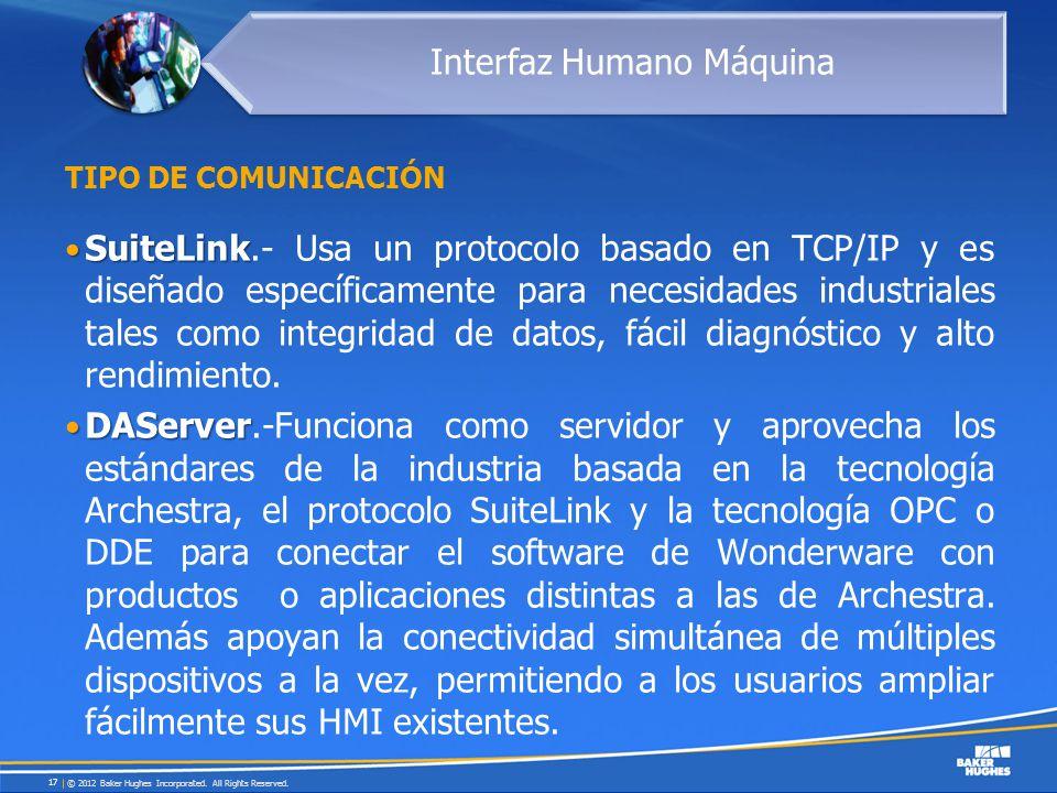 TIPO DE COMUNICACIÓN SuiteLink SuiteLink.- Usa un protocolo basado en TCP/IP y es diseñado específicamente para necesidades industriales tales como in