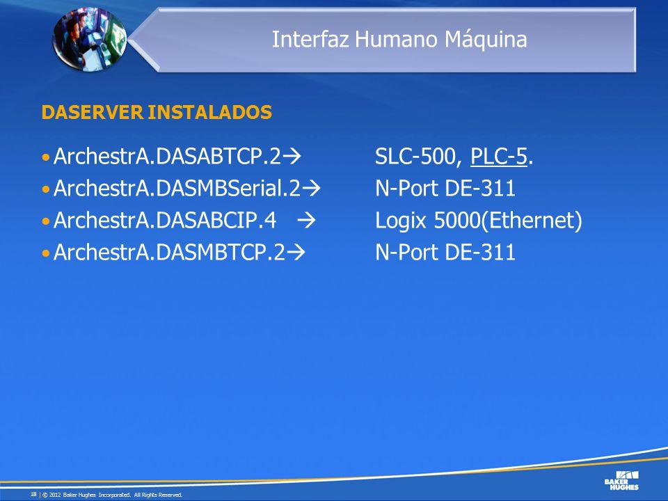 DASERVER INSTALADOS ArchestrA.DASABTCP.2 SLC-500, PLC-5. ArchestrA.DASMBSerial.2 N-Port DE-311 ArchestrA.DASABCIP.4 Logix 5000(Ethernet) ArchestrA.DAS