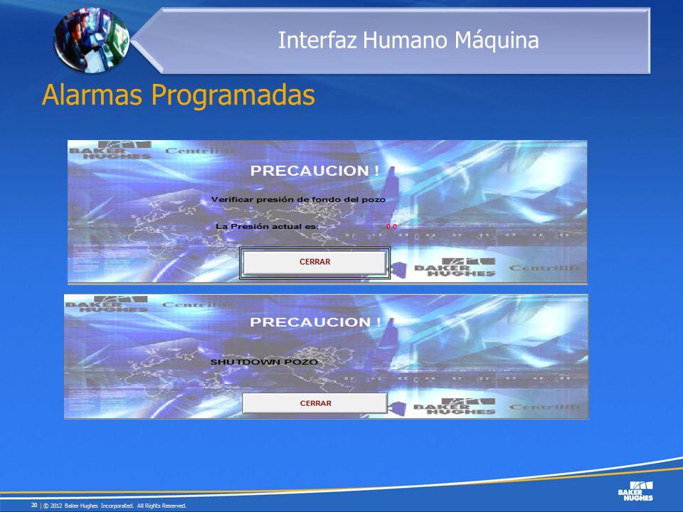 Alarmas Programadas © 2012 Baker Hughes Incorporated. All Rights Reserved. 20 Interfaz Humano Máquina