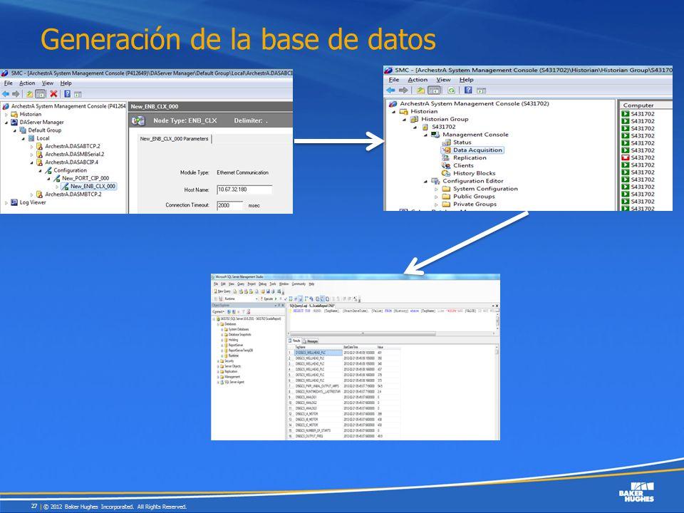 Generación de la base de datos © 2012 Baker Hughes Incorporated. All Rights Reserved. 27
