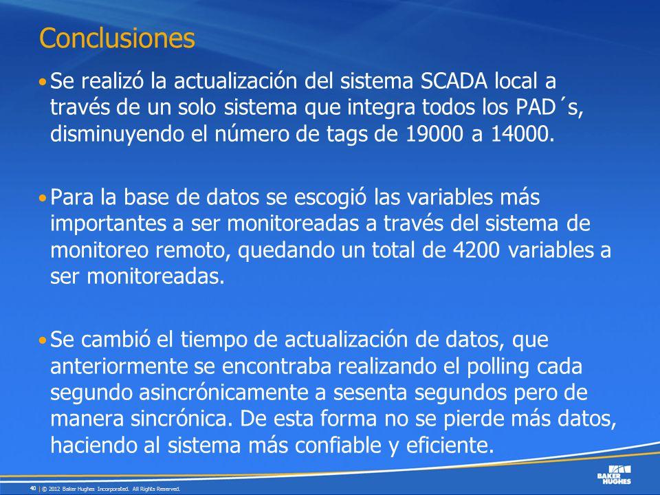 Conclusiones Se realizó la actualización del sistema SCADA local a través de un solo sistema que integra todos los PAD´s, disminuyendo el número de ta