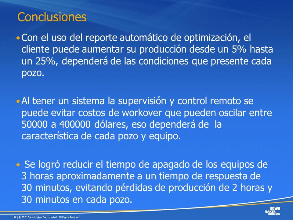 Conclusiones Con el uso del reporte automático de optimización, el cliente puede aumentar su producción desde un 5% hasta un 25%, dependerá de las con