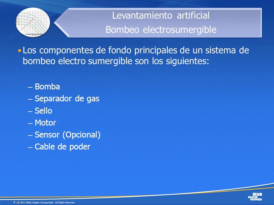 Los componentes de fondo principales de un sistema de bombeo electro sumergible son los siguientes: – Bomba – Separador de gas – Sello – Motor – Senso