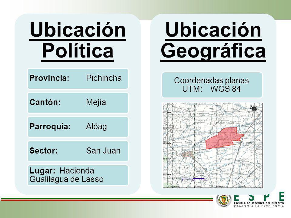 Ubicación Política Provincia: PichinchaCantón: MejíaParroquia: AlóagSector: San Juan Lugar: Hacienda Gualilagua de Lasso Ubicación Geográfica Coordena
