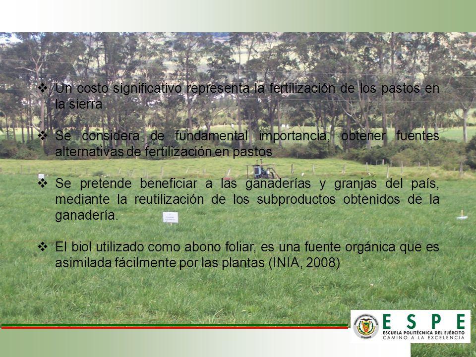 Un costo significativo representa la fertilización de los pastos en la sierra Se considera de fundamental importancia, obtener fuentes alternativas de