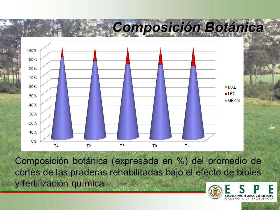 Composición botánica (expresada en %) del promedio de cortes de las praderas rehabilitadas bajo el efecto de bioles y fertilización química Composició