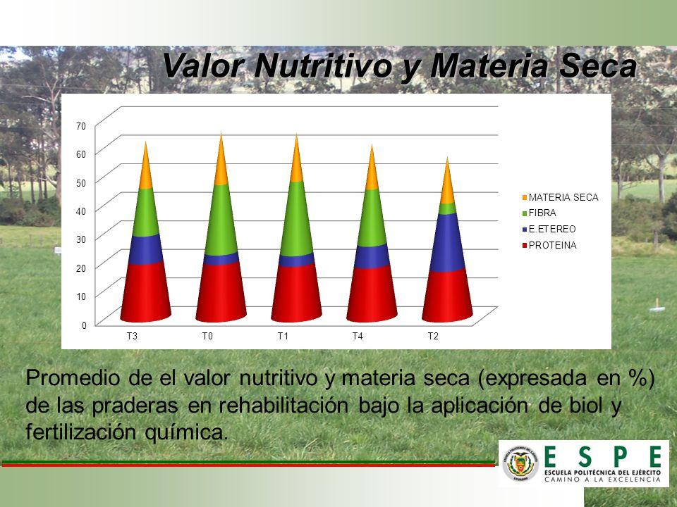 Promedio de el valor nutritivo y materia seca (expresada en %) de las praderas en rehabilitación bajo la aplicación de biol y fertilización química. V