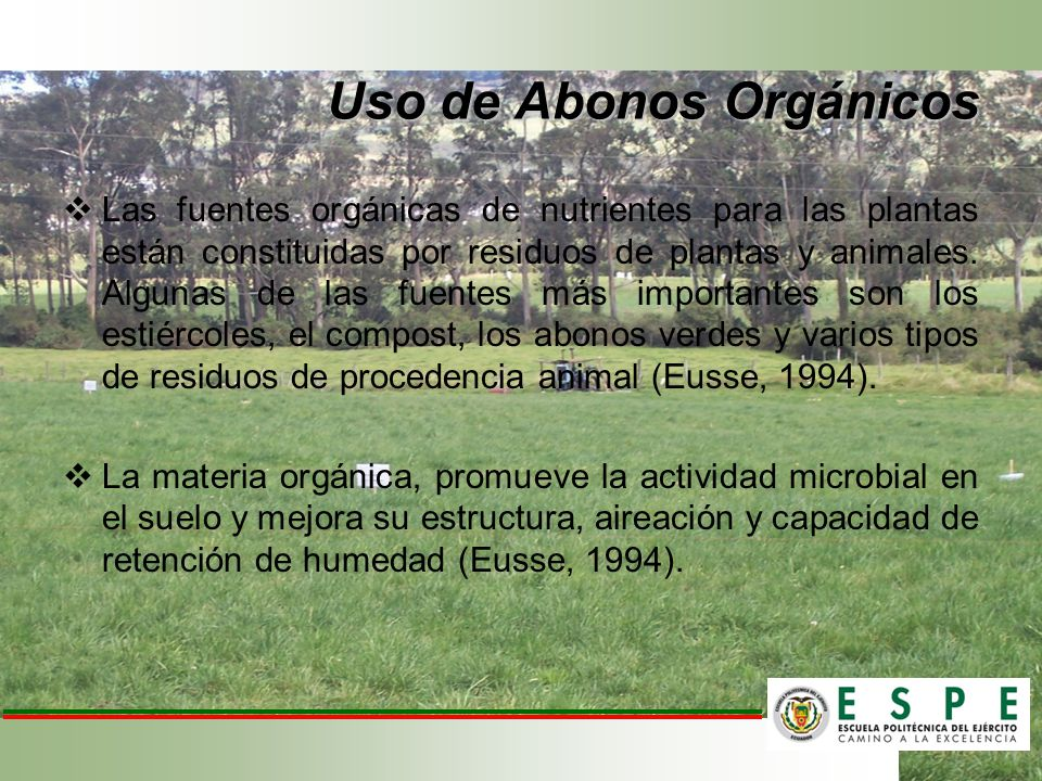 Uso de Abonos Orgánicos Las fuentes orgánicas de nutrientes para las plantas están constituidas por residuos de plantas y animales. Algunas de las fue