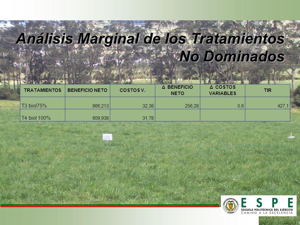 Análisis Marginal de los Tratamientos No Dominados TRATAMIENTOSBENEFICIO NETOCOSTOS V. Δ BENEFICIO NETO Δ COSTOS VARIABLES TIR T3 biol75% 866,21332,38