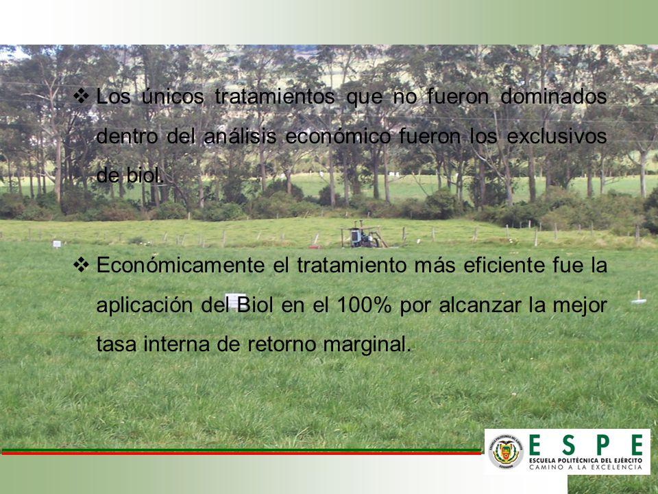 Los únicos tratamientos que no fueron dominados dentro del análisis económico fueron los exclusivos de biol. Económicamente el tratamiento más eficien