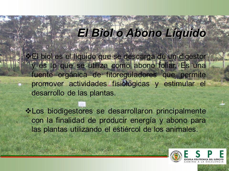 El Biol o Abono Líquido El biol es el líquido que se descarga de un digestor y es lo que se utiliza como abono foliar. Es una fuente orgánica de fitor