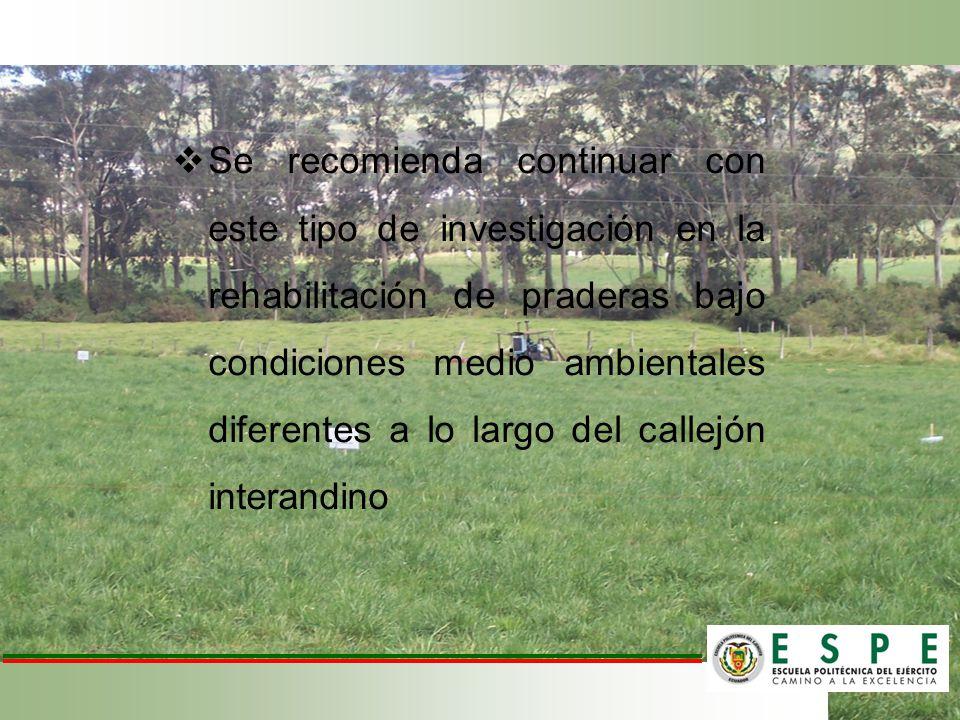 Se recomienda continuar con este tipo de investigación en la rehabilitación de praderas bajo condiciones medio ambientales diferentes a lo largo del c