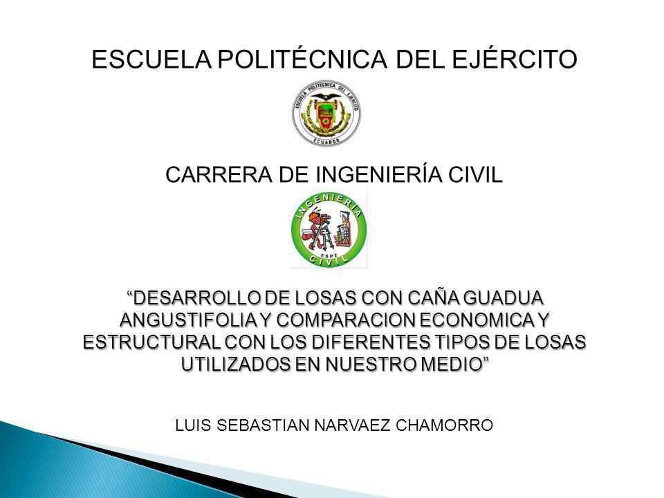 ESCUELA POLITÉCNICA DEL EJÉRCITO CARRERA DE INGENIERÍA CIVIL DESARROLLO DE LOSAS CON CAÑA GUADUA ANGUSTIFOLIA Y COMPARACION ECONOMICA Y ESTRUCTURAL CO