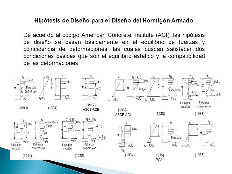 Hipótesis de Diseño para el Diseño del Hormigón Armado De acuerdo al código American Concrete Institute (ACI), las hipótesis de diseño se basan básica