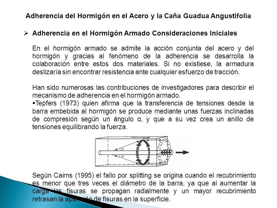Adherencia del Hormigón en el Acero y la Caña Guadua Angustifolia Adherencia en el Hormigón Armado Consideraciones Iniciales En el hormigón armado se