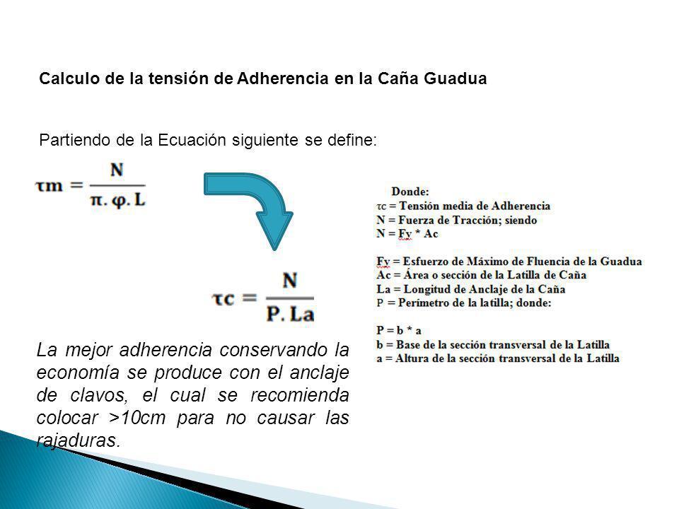 Calculo de la tensión de Adherencia en la Caña Guadua Partiendo de la Ecuación siguiente se define: La mejor adherencia conservando la economía se pro