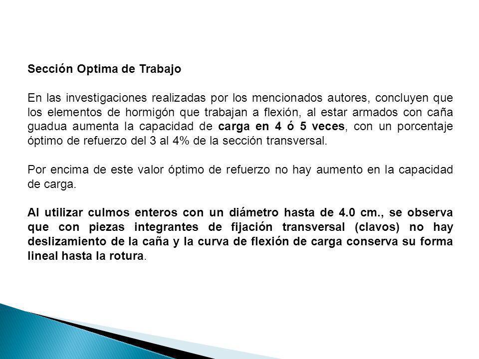 Sección Optima de Trabajo En las investigaciones realizadas por los mencionados autores, concluyen que los elementos de hormigón que trabajan a flexió