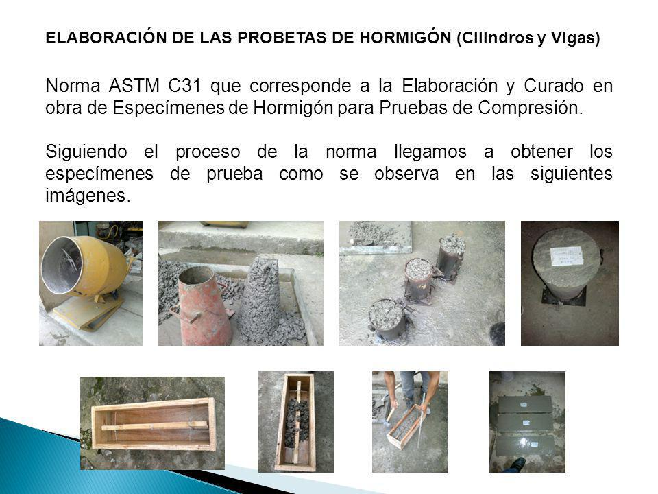 ELABORACIÓN DE LAS PROBETAS DE HORMIGÓN (Cilindros y Vigas) Norma ASTM C31 que corresponde a la Elaboración y Curado en obra de Especímenes de Hormigó