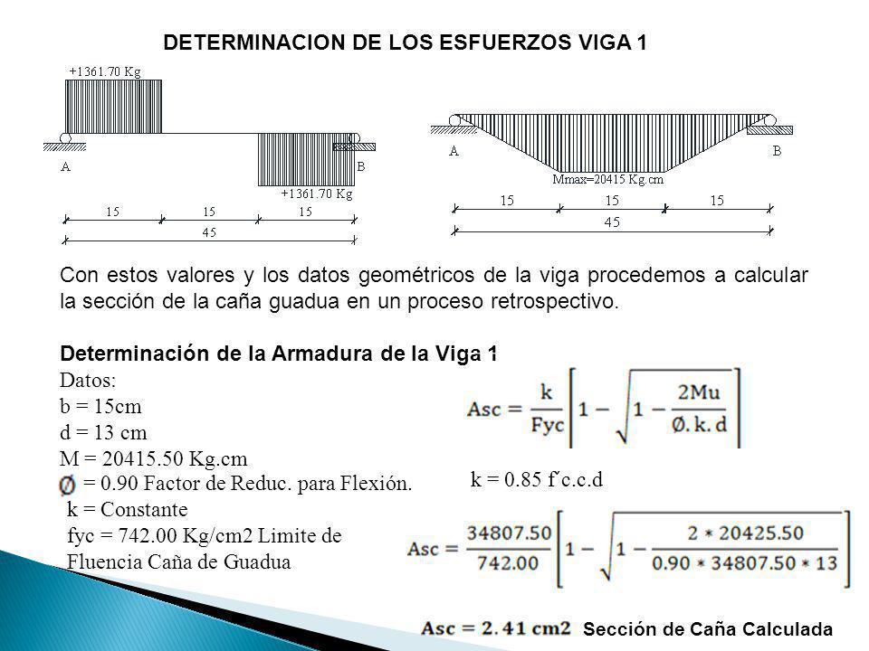 DETERMINACION DE LOS ESFUERZOS VIGA 1 Con estos valores y los datos geométricos de la viga procedemos a calcular la sección de la caña guadua en un pr